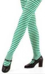 green-white-striped-tights
